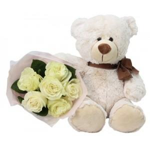 Urso com 6 Rosas Brancas