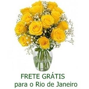 Buquê de 13 Rosas Amarelas no Jarro de Vidro