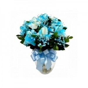 Arranjo de Rosas Azuis