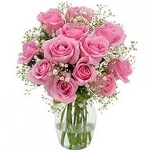 Buquê de 12 Rosas Rosa no Jarro de Vidro