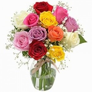 Buquê de 12 Rosas Coloridas no Jarro de Vidro