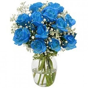 Buquê de 12 Rosas Azuis no Jarro de Vidro