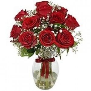 Buquê de 12 Rosas Vermelhas no Jarro de Vidro