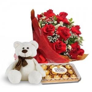 Buque com 13 Rosas Vermelhas Urso e Ferrero Rocher