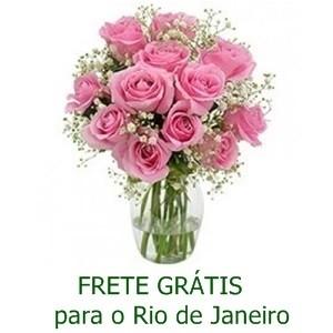 Buquê de 13 Rosas Rosa no Jarro de Vidro