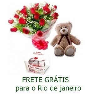 Buquê 13 Rosas Vermelhas +Urso + Bombom da Ferraello