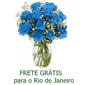 Buquê de 13 Rosas Azuis no Jarro de Vidro