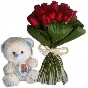 Buquê de 30 Rosas Vermelhas com   Urso de Pelúcia