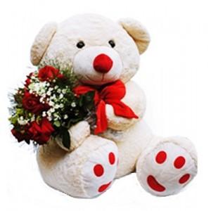 Urso com Buque de Rosa nos Braços