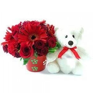Arranjo de Gerberas  Rosas Vermelhas com Ursinho